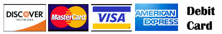 Visa, master card, discover, debit, American Express